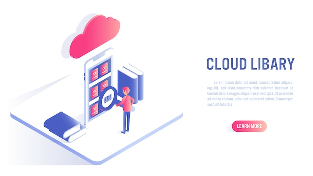 Biblioteca della nuvola e concetto online di istruzione. invito all'azione o modello di banner web Vettore Premium