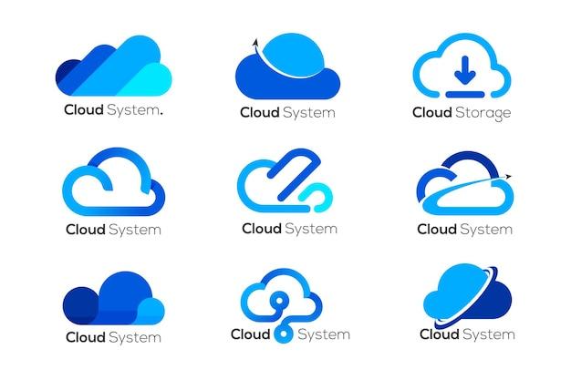 Modello di progettazione logo cloud, 9 diversi loghi cloud
