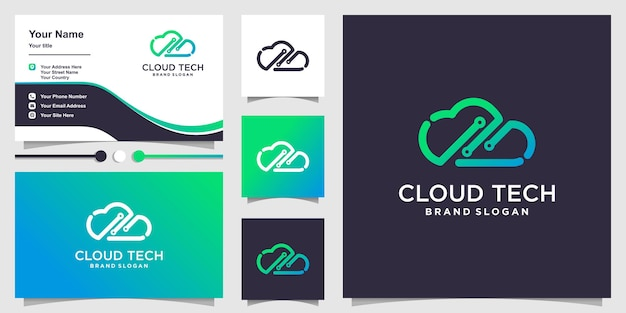 Logo cloud con il concetto di tecnologia creativa al tratto vettore premium