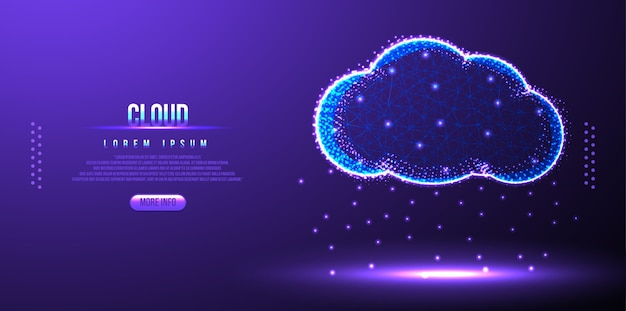 Rete wireframe di poli basso cloud