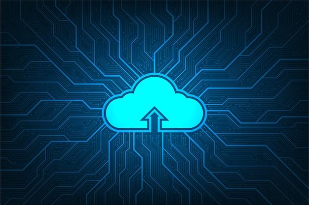 Rete cloud che carica varie informazioni attraverso sistemi digitali.