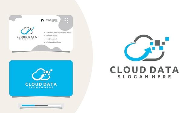 Logo cloud del server dei dati di progettazione del logo del pixel del cloud