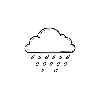Icona di doodle di contorno disegnato a mano di gocce di pioggia di nuvola. meteorologia, previsioni del tempo, concetto di clima e cielo