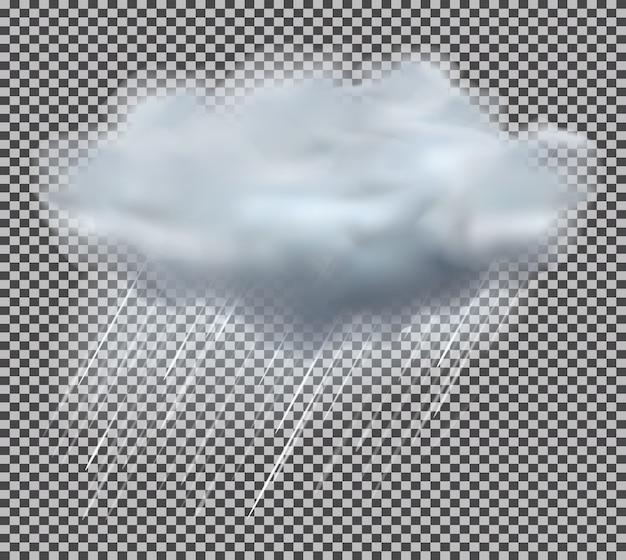 Illustrazione di gocce di pioggia e nuvola.