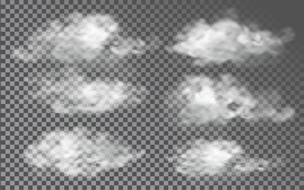 Cloud in stile realistico su sfondo trasparente
