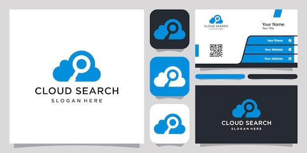 Logo e biglietto da visita del modello di simbolo dell'icona del logo di ricerca cloud