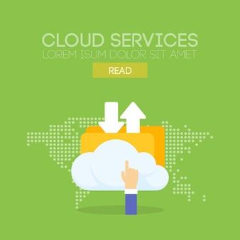 Concetto di banner di servizio cloud. sfondo della mappa. illustrazione vettoriale