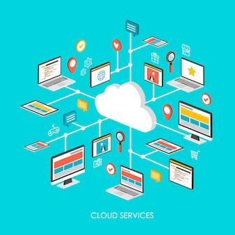 Concetto di servizi cloud 3d infografica isometrica su sfondo blu