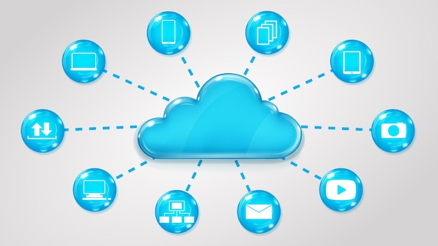 Concetto di servizi cloud su sfondo grigio
