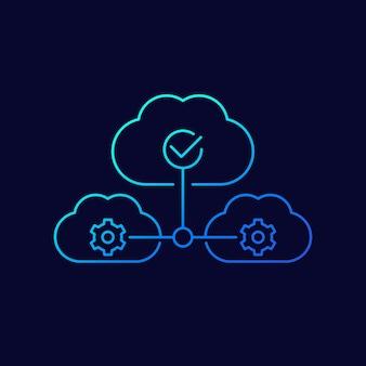 Servizi cloud e icona della linea saas