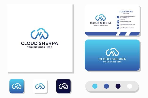 Cloud sherpa mountain logo design e biglietto da visita Vettore Premium