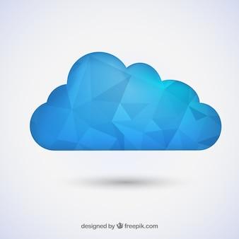 Nube silhouette blu poligono Vettore Premium