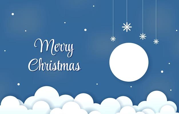 Cloud sky snow winter christmas papercut paper cut style illustration