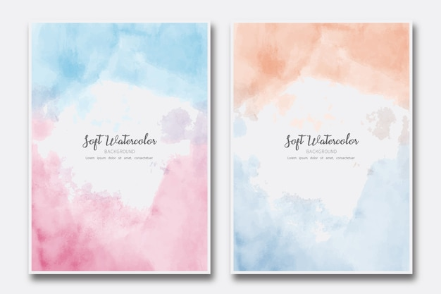 Set di copertina dipinta astratta dell'acquerello morbido nuvola