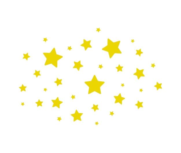 Nuvola di stelle brilla stelle isolate su sfondo bianco illustrazione vettoriale