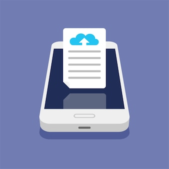 Concetto di cloud storage. caricamento di file su cloud storage su smartphone. processo di download.