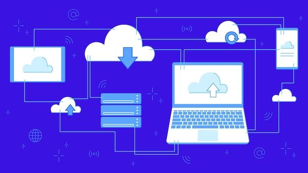 Archiviazione cloud per il download. servizio o applicazione digitale con trasferimento dati. tecnologie informatiche in rete. server e data center collegati all'illustrazione vettoriale banner del laptop