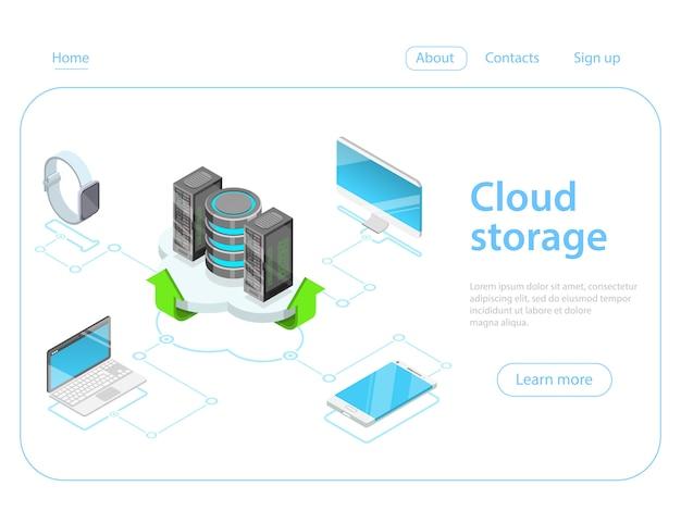 Concetto di vettore isometrico piatto di archiviazione cloud.