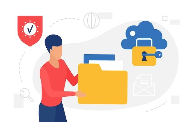 Concetto di tecnologia internet di archiviazione cloud utente uomo che tiene una grande cartella con documenti