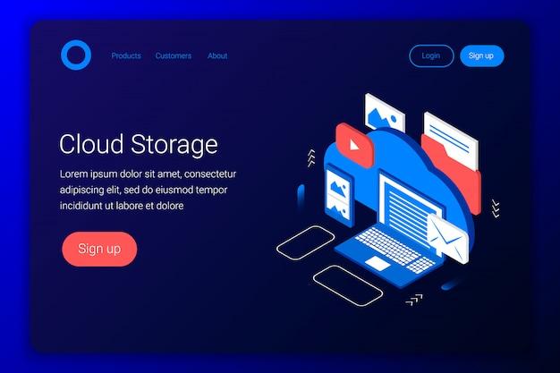 Concetto isometrico di archiviazione cloud. backup di laptop, smartphone, foto, e-mail, video e altri file. stile 3d piatto. modello di pagina di destinazione. illustrazione.