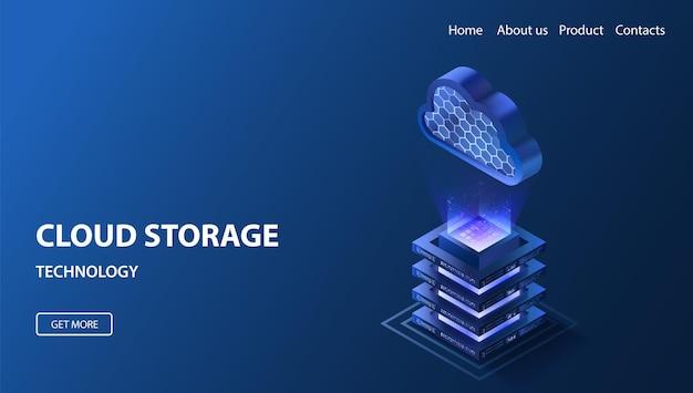 Illustrazione isometrica di archiviazione cloud piattaforma server dati incandescente piattaforma sicura neon blu