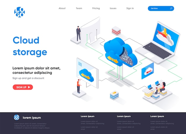 Pagina di destinazione isometrica di archiviazione cloud