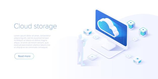Archiviazione su cloud e download da pc in design isometrico Vettore Premium