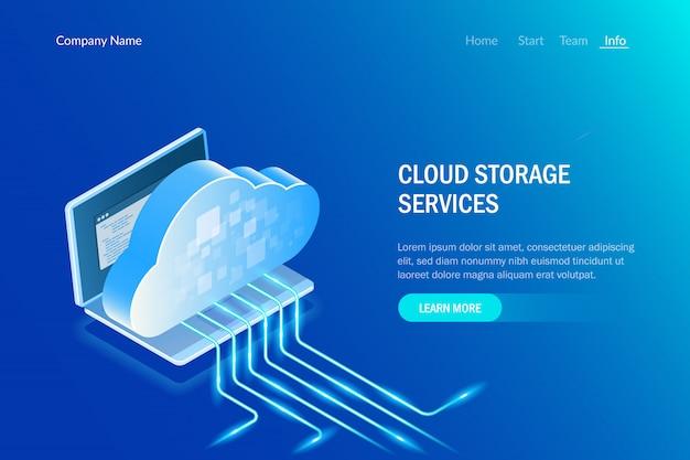 Servizi di archiviazione cloud. processo di caricamento dei dati. tecnologia dell'informazione