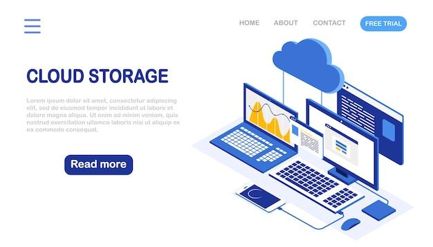 Tecnologia di archiviazione cloud. backup dei dati. computer portatile isometrico, computer con telefono. servizio di hosting