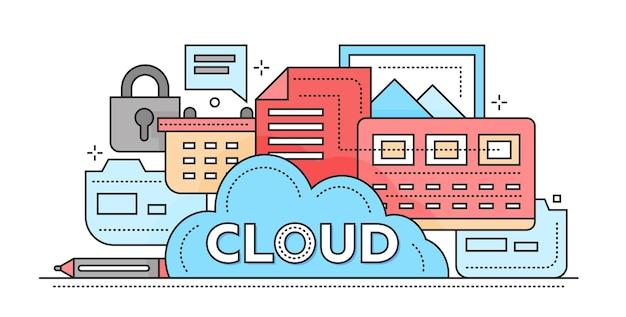 Tecnologia di archiviazione cloud - illustrazione vettoriale moderna linea piatta con file, cloud, lucchetto e altri simboli del computer