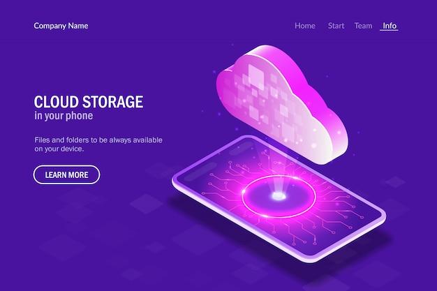 Archiviazione cloud nel telefono. nuvole di ologramma sullo sfondo dello smartphone
