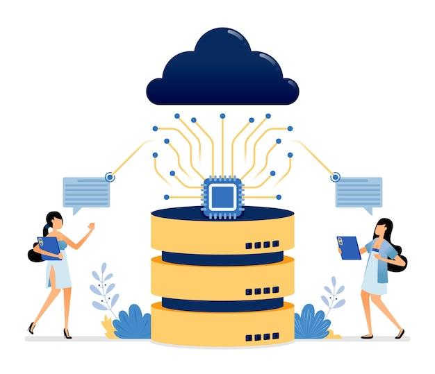 Sistema cloud connesso a un microchip su un database hardware