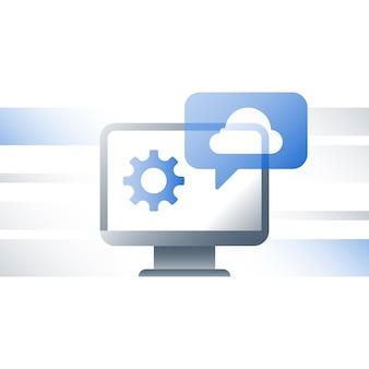 Tecnologia cloud, soluzioni aziendali, scambio di dati, archiviazione di file di documenti, caricamento e download rapidi, sviluppo di servizi online, connessione di rete, server di backup, icona piatta
