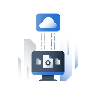 Tecnologia cloud, soluzioni aziendali, scambio di dati, archiviazione di file di documenti