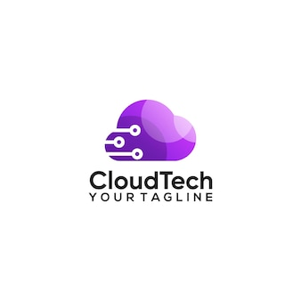 Design del logo con gradiente di colore della tecnologia cloud