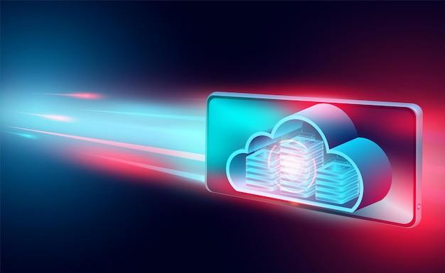 Concetto di tecnologia cloud tecnologia informatica online grande flusso di dati elaborazione concetto isometrico