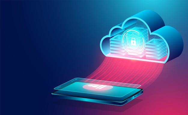 Concetto di tecnologia cloud tecnologia informatica in linea grande concetto di elaborazione del flusso di dati