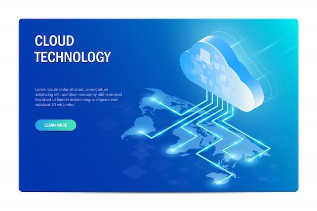 Tecnologia cloud. distribuzione della tecnologia dell'informazione in tutto il mondo. mappa del mondo.