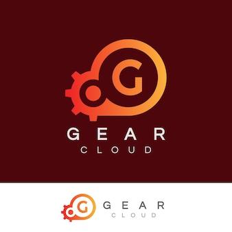 Cloud technology iniziale lettera g logo design