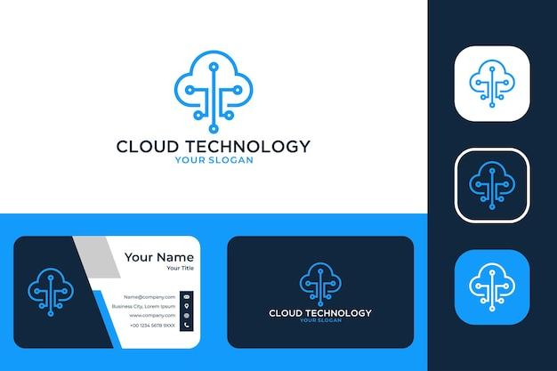 Design del logo e biglietto da visita della tecnologia cloud line art