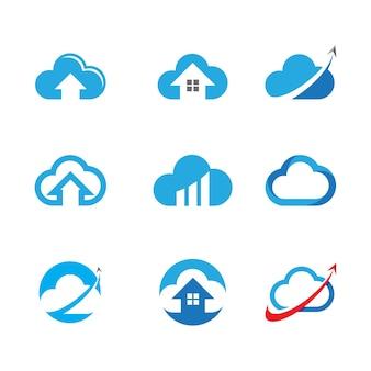 Progettazione dell'illustrazione dell'icona di vettore del modello della nuvola