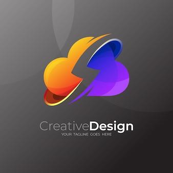 Vettore di design logo nuvola e tuono, 3d colorato