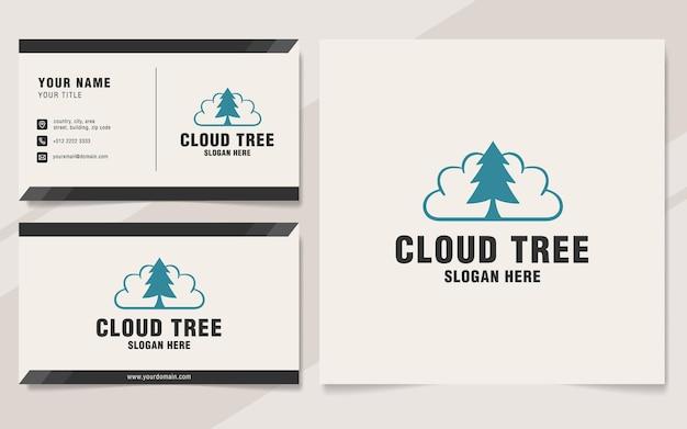 Modello di logo dell'albero della nuvola sullo stile del monogramma