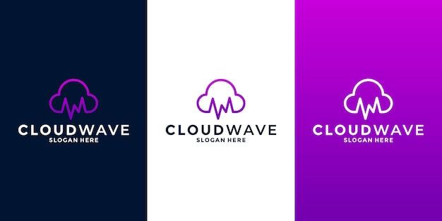 Vettore di progettazione del logo della combinazione di nuvole e onde