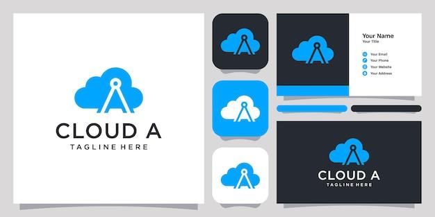 Nuvola con spazio negativo lettera a logo icona simbolo modello logo e biglietto da visita