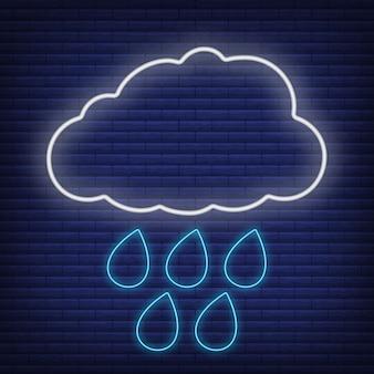 Nuvola con icona di pioggia bagliore in stile neon, concetto di condizioni meteorologiche contorno piatto illustrazione vettoriale, isolato su nero. sfondo di mattoni, roba etichetta clima web.