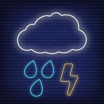 Nuvola con pioggia e fulmini icona bagliore in stile neon, concetto di condizioni meteorologiche contorno piatto illustrazione vettoriale, isolato su nero. sfondo di mattoni, roba etichetta clima web.