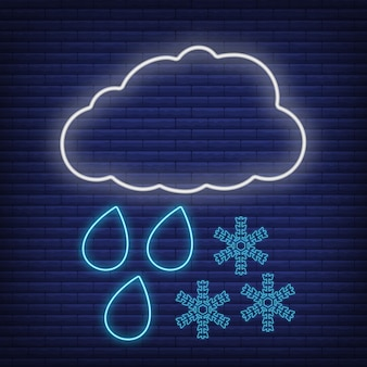 Nuvola con pioggia vento neve, icona fiocco di neve bagliore in stile neon, concetto di condizioni meteorologiche contorno piatto illustrazione vettoriale, isolato su nero. sfondo di mattoni, roba etichetta clima web.