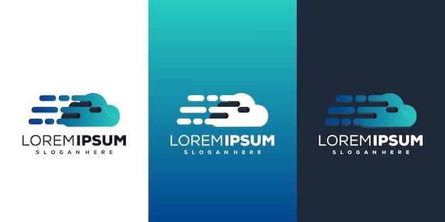 Nuvola con design del logo tecnologico