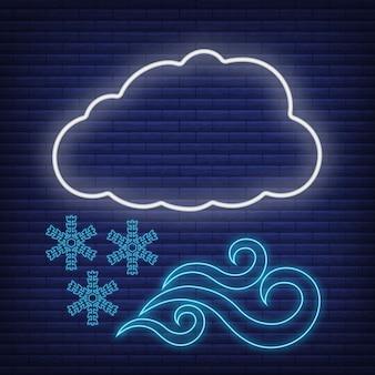 Nuvola con la neve del vento, l'icona del fiocco di neve si illumina in stile neon, l'illustrazione piana di vettore del profilo delle condizioni atmosferiche di concetto, isolata sul nero. sfondo di mattoni, roba etichetta clima web.